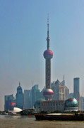 Travel China Posters - Pudong Shanghai Oriental Perl Tower Poster by Christine Till