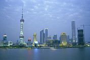 Apartment Houses Prints - Pudong Skyline, Seen Print by Justin Guariglia