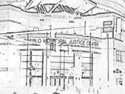 Hard Court Prints - Pueblo Municipal Justice Center 2 Print by Lenore Senior