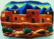 Native American Ceramics - Pueblo Town by Lucy Deane