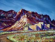 Southwest Landscape Pastels Metal Prints - Pueblos Butte Metal Print by George Grace