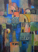 Small Abstract Paintings - Pueblos no. 3 by Melody Cleary