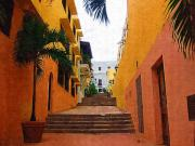 Ally Digital Art Prints - Puerto Rico Ally Way Print by Donna Bentley