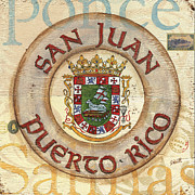 City Scape Painting Prints - Puerto Rico Coat of Arms Print by Debbie DeWitt