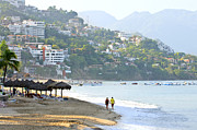 Umbrellas Metal Prints - Puerto Vallarta beach Metal Print by Elena Elisseeva