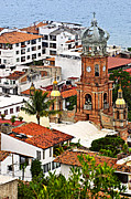 Rooftop Framed Prints - Puerto Vallarta Framed Print by Elena Elisseeva