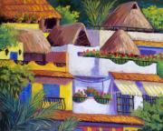 Mexico Pastels Posters - Puerto Vallarta Hillside Poster by Candy Mayer