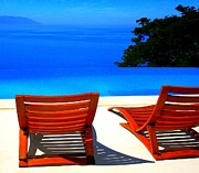 Chaise-lounge Prints - Puerto Vallarta Pool Print by Randall Weidner