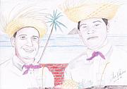 Color Pencil Drawings - Puertorican Friends by Jose Valeriano