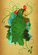 Puerto Rico Digital Art Prints - Puertorican Parrot Print by Yiries Saad