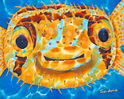 Life  Tapestries - Textiles Metal Prints - Puffer Fish Metal Print by Daniel Jean-Baptiste