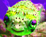 Tropical Fish Posters - Pufferfish Poster by Wingsdomain Art and Photography