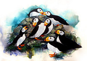 Puffin Paintings - Puffin Party by Sherry Shipley