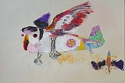 Biplane Drawings - Puffin Plane by Virginia Stuart