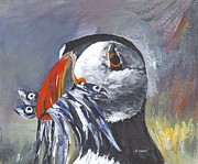 Puffin Paintings - Puffin with Fish by Brigitte Hayden