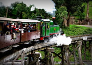 Trains Photos - Puffing Billy Crossing the Trestle in Color by Tam Graff