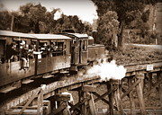 Trains Photos - Puffing Billy Crossing the Trestle in Sepia by Tam Graff
