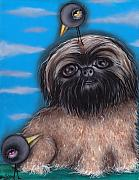 Crows Paintings - Puffy Dog by  Abril Andrade Griffith