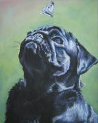 Dog Portrait Paintings - Pug black  by L A Shepard