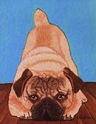 Wag Tail Framed Prints - Pug Dog Framed Print by Victoria Rhodehouse