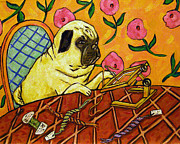 Needlepoint Framed Prints - Pug Doing Needlepoint Framed Print by Jay  Schmetz