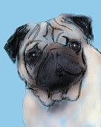 Puppy Mixed Media - Pug by Donna Johnson