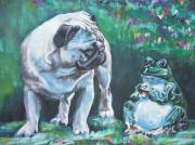 Fawn Pug Paintings - Pug Fawn With Frog by L A Shepard