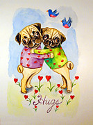 Pugs Posters - Pug Hugs - Pug Dog Poster by Lyn Cook