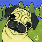 Dog Breeds Paintings - Pug by Leanne Wilkes
