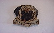 Wood Wall Hangings Mixed Media - Pug Leash Holder by Val Oconnor