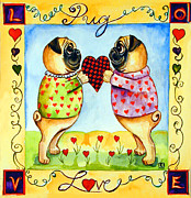 Pug Valentine Framed Prints - Pug Love Framed Print by Lyn Cook