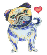 Pug Valentine Framed Prints - Pug Love Framed Print by Sarah Denbigh