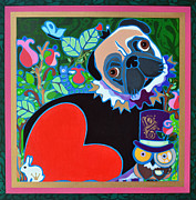 Alice In Wonderland Paintings - Pug of Hearts by Jenny Valdez