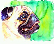 Fawn Pug Paintings - Pug Profile by Christy  Freeman