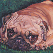 Fawn Pug Paintings - Pug pup by Lee Ann Shepard