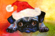 Pet Portraits Drawings Prints - Pug Santa Portrait Print by Svetlana Novikova