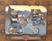 Helicopters Paintings - Pug Ugly M.C. by Stuart Swartz
