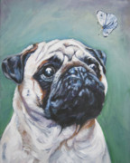 Fawn Pug Paintings - Pug with butterfly by Lee Ann Shepard