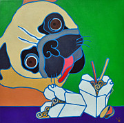 Noodles Painting Framed Prints - Pug-zilla Framed Print by Jenny Valdez
