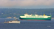 Wallenius Wilhelmsen Prints - Puget Sound Shipping Waterway Print by Tap On Photo