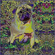 Op Art Digital Art Posters - PugJanoschLinear Poster by Dieter Bruhns