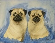 Fawn Pug Paintings - Pugs by Edwin Alverio