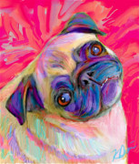 Pets Digital Art Metal Prints - Pugsly Metal Print by Karen Derrico