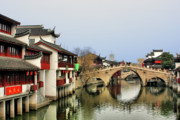 Mirroring Prints - Puhuitang River Bridge Qibao - Shanghai China Print by Christine Till