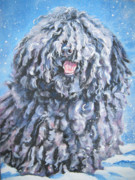 Snow Dog Posters - Puli Poster by Lee Ann Shepard