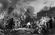 New York City Drawings Posters - Pulling down the statue of George III Poster by War Is Hell Store