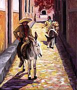 Stucco Painting Posters - Pulling up the Rear in Mexico Poster by Nancy Griswold