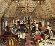 Waiter Framed Prints - Pullman: Dining Car, 1877 Framed Print by Granger