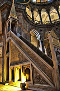 Basilica Prints - Pulpet in the Aya Sophia Church Museum  in Istanbul Turkey Print by David Smith