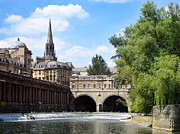 Roof Photo Posters - Pulteney bridge and weir Poster by Jane Rix